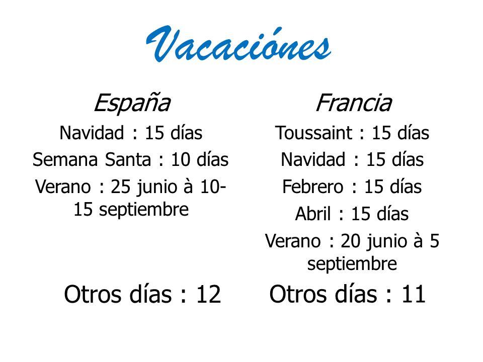 Vacaciónes España Francia Otros días : 12 Otros días : 11