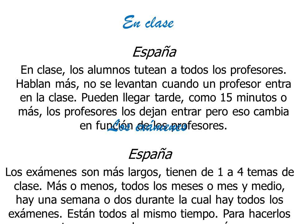 En clase Los exámenes España España