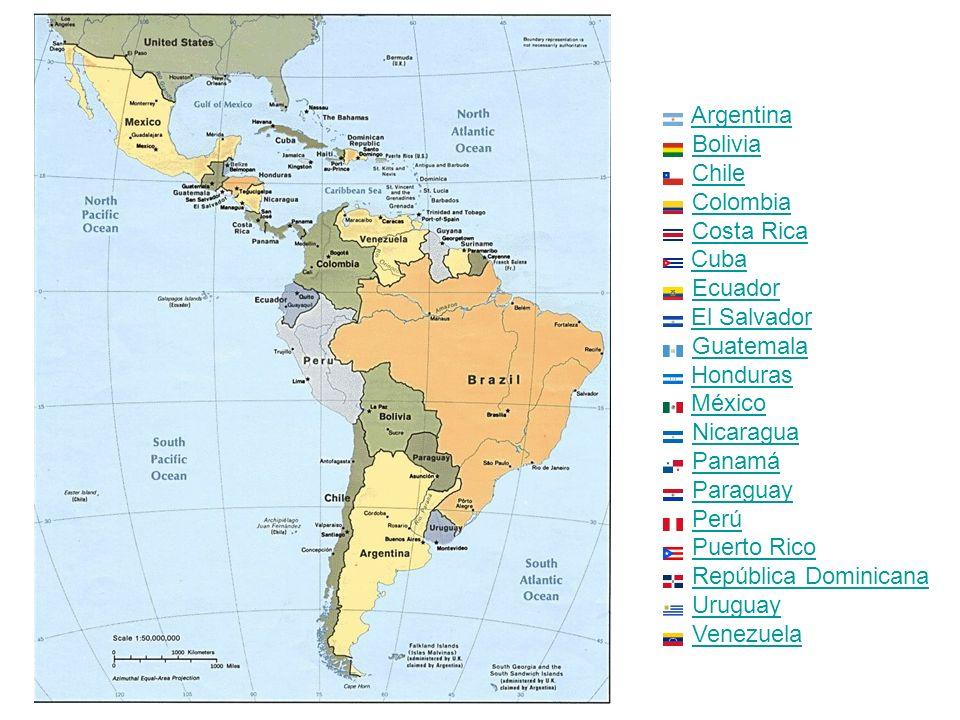 Argentina Bolivia Chile Colombia Costa Rica Cuba Ecuador El Salvador Guatemala Honduras México Nicaragua Panamá Paraguay Perú Puerto Rico República Dominicana Uruguay Venezuela