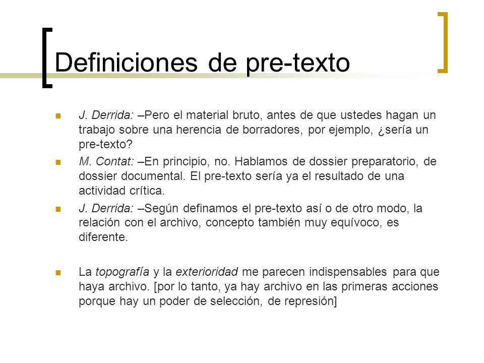 Definiciones de pre-texto