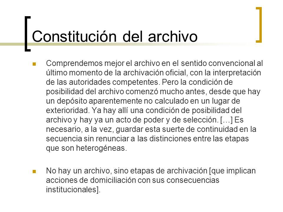 Constitución del archivo
