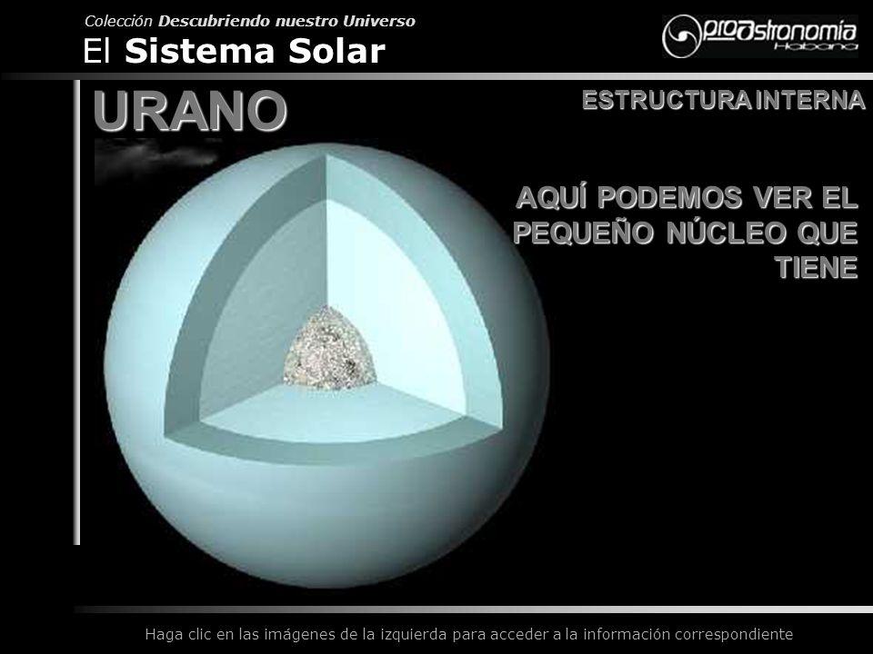 URANO El Sistema Solar AQUÍ PODEMOS VER EL PEQUEÑO NÚCLEO QUE TIENE