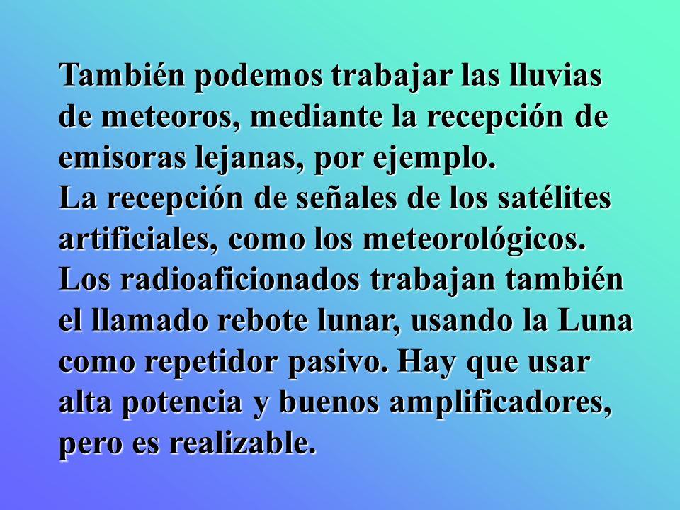También podemos trabajar las lluvias de meteoros, mediante la recepción de emisoras lejanas, por ejemplo.