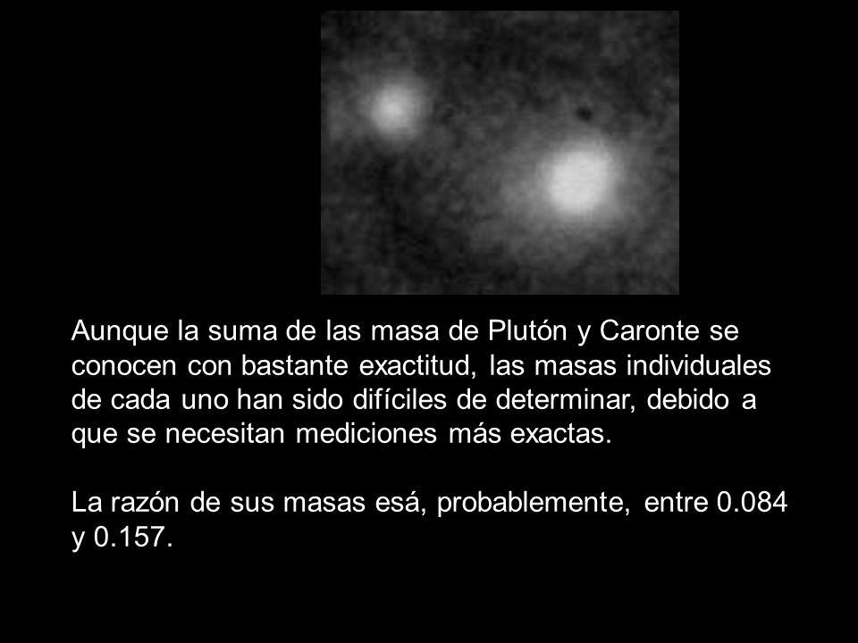 Aunque la suma de las masa de Plutón y Caronte se conocen con bastante exactitud, las masas individuales de cada uno han sido difíciles de determinar, debido a que se necesitan mediciones más exactas.
