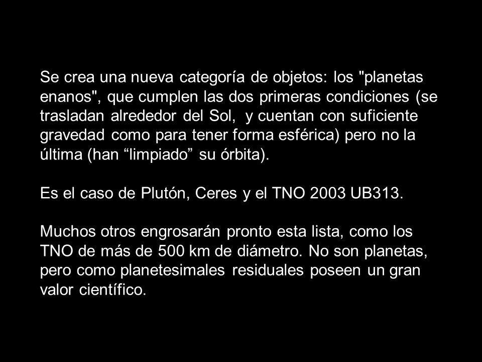 Se crea una nueva categoría de objetos: los planetas enanos , que cumplen las dos primeras condiciones (se trasladan alrededor del Sol, y cuentan con suficiente gravedad como para tener forma esférica) pero no la última (han limpiado su órbita).