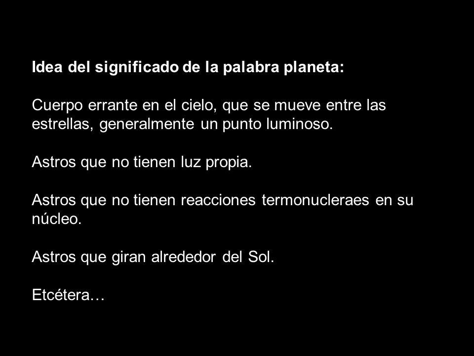 Idea del significado de la palabra planeta:
