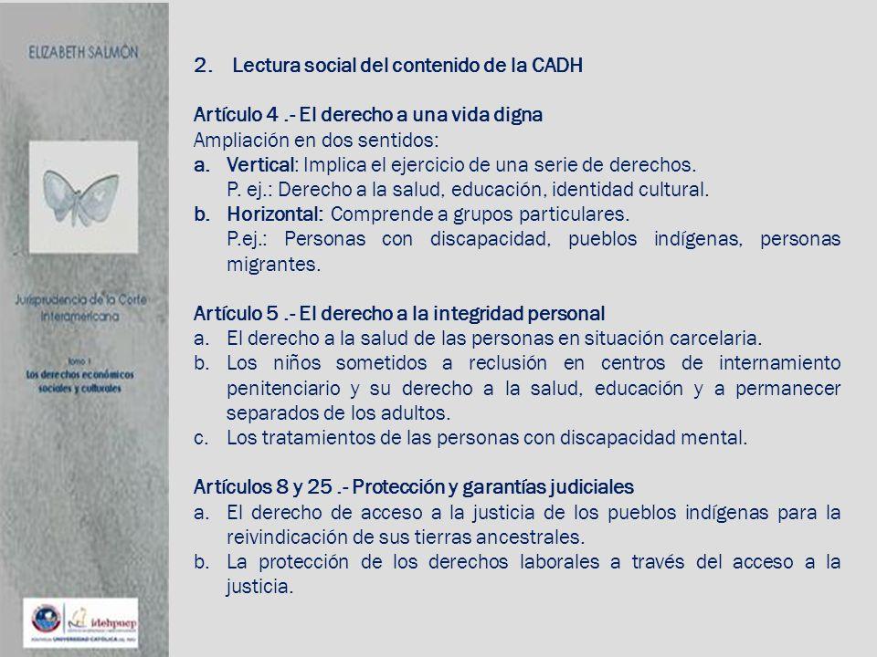 2. Lectura social del contenido de la CADH