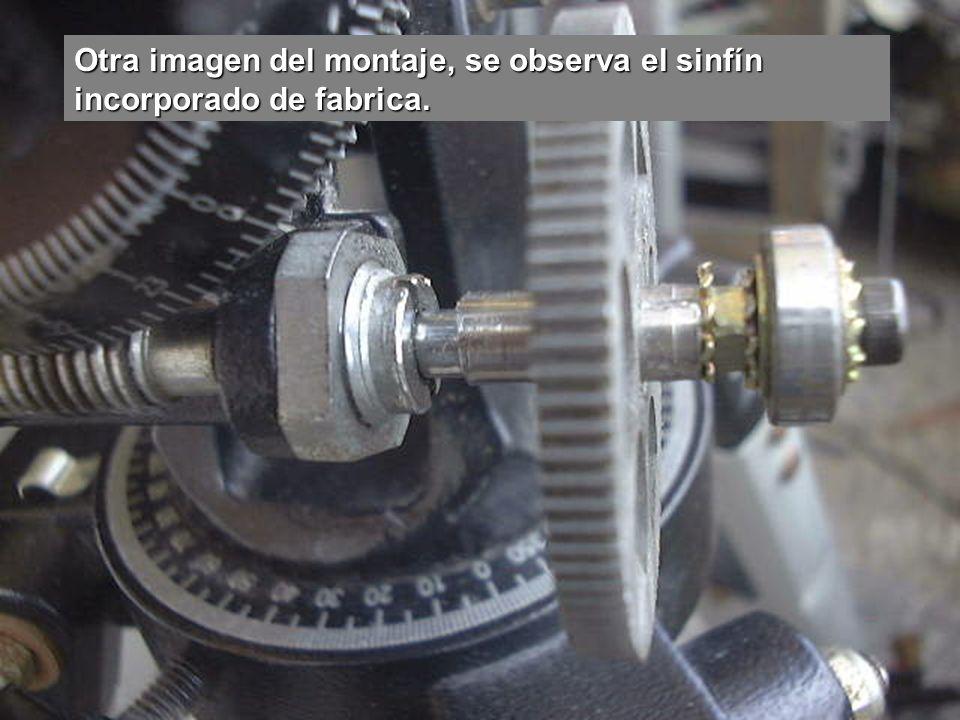 Otra imagen del montaje, se observa el sinfín incorporado de fabrica.