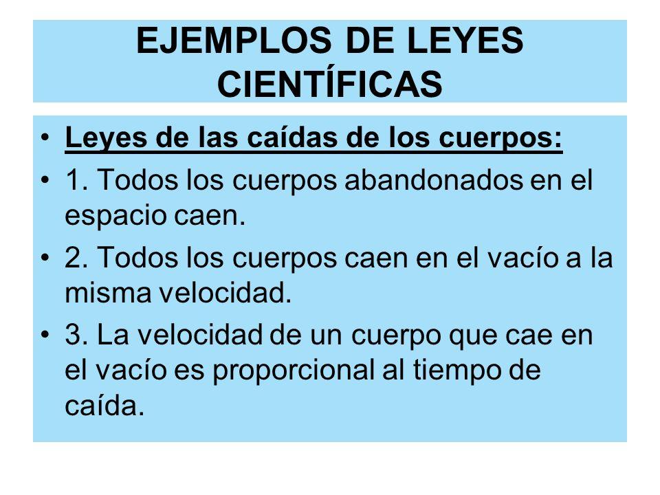 EJEMPLOS DE LEYES CIENTÍFICAS