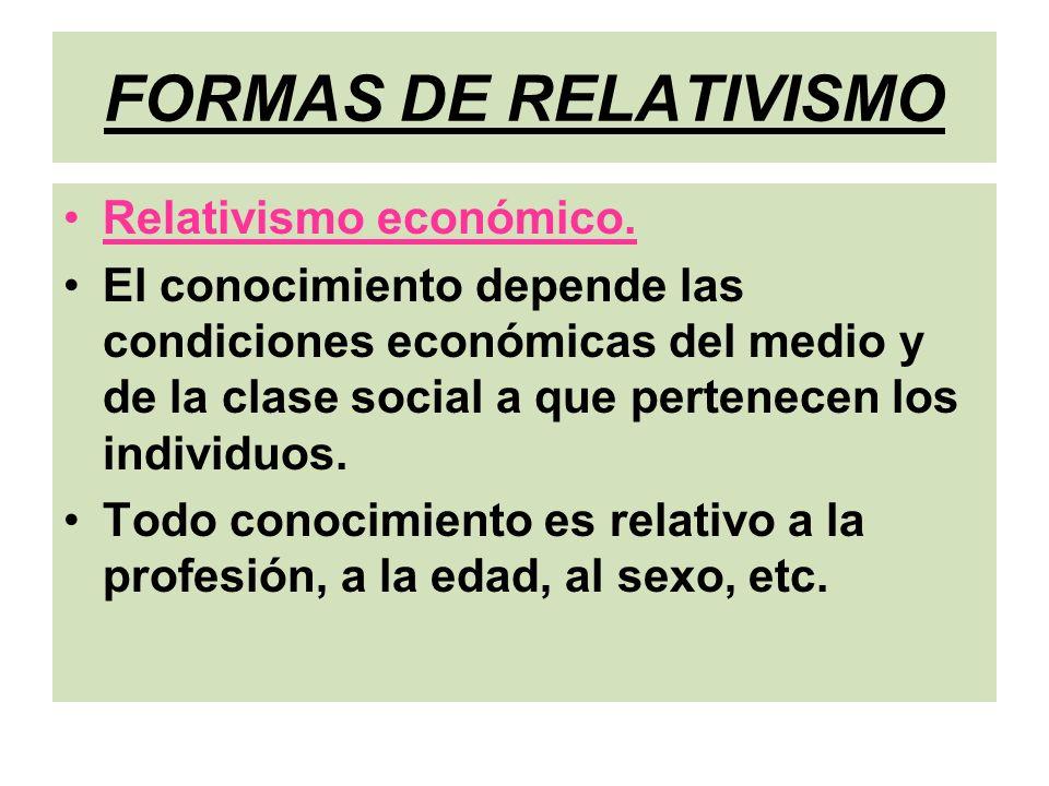 FORMAS DE RELATIVISMO Relativismo económico.