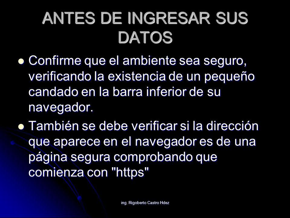 ANTES DE INGRESAR SUS DATOS