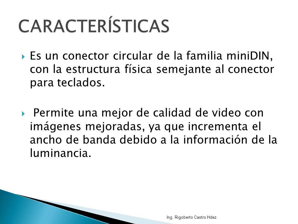 CARACTERÍSTICAS Es un conector circular de la familia miniDIN, con la estructura física semejante al conector para teclados.