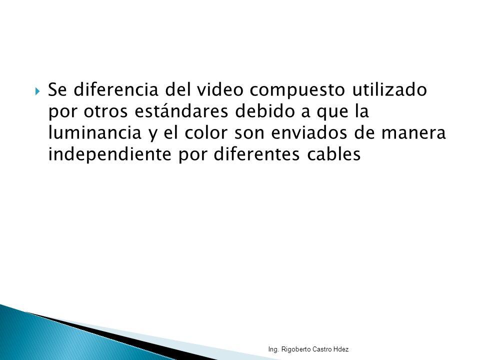 Se diferencia del video compuesto utilizado por otros estándares debido a que la luminancia y el color son enviados de manera independiente por diferentes cables