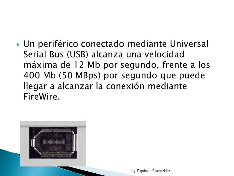 Un periférico conectado mediante Universal Serial Bus (USB) alcanza una velocidad máxima de 12 Mb por segundo, frente a los 400 Mb (50 MBps) por segundo que puede llegar a alcanzar la conexión mediante FireWire.