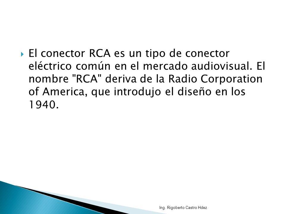 El conector RCA es un tipo de conector eléctrico común en el mercado audiovisual. El nombre RCA deriva de la Radio Corporation of America, que introdujo el diseño en los 1940.