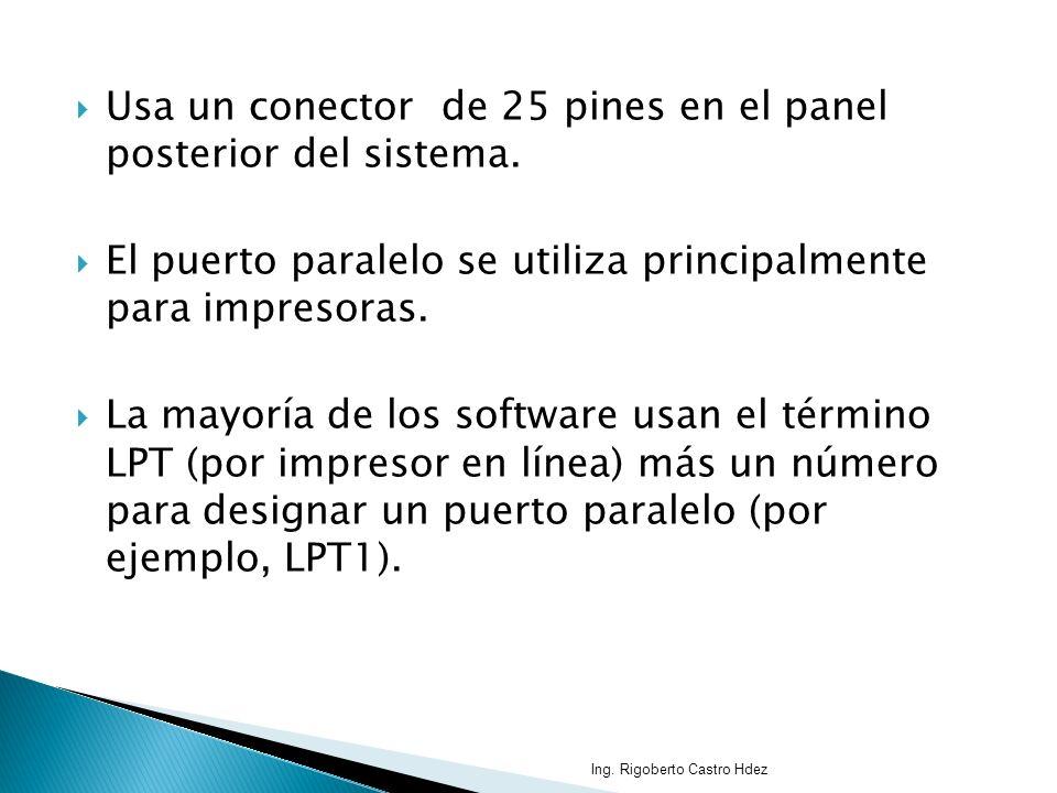 Usa un conector de 25 pines en el panel posterior del sistema.