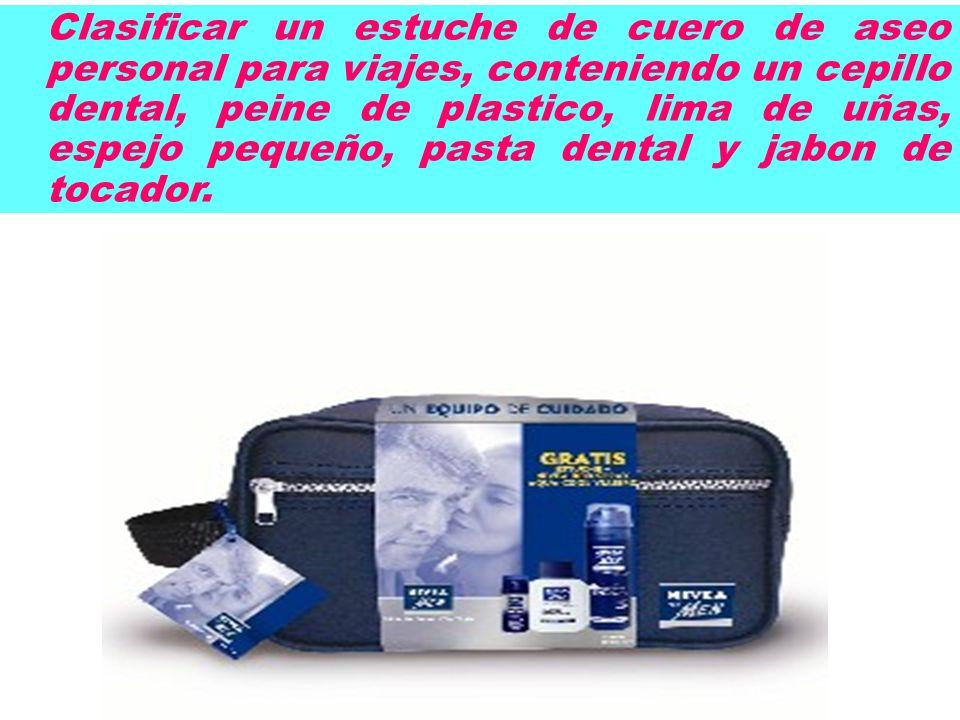 Clasificar un estuche de cuero de aseo personal para viajes, conteniendo un cepillo dental, peine de plastico, lima de uñas, espejo pequeño, pasta dental y jabon de tocador.