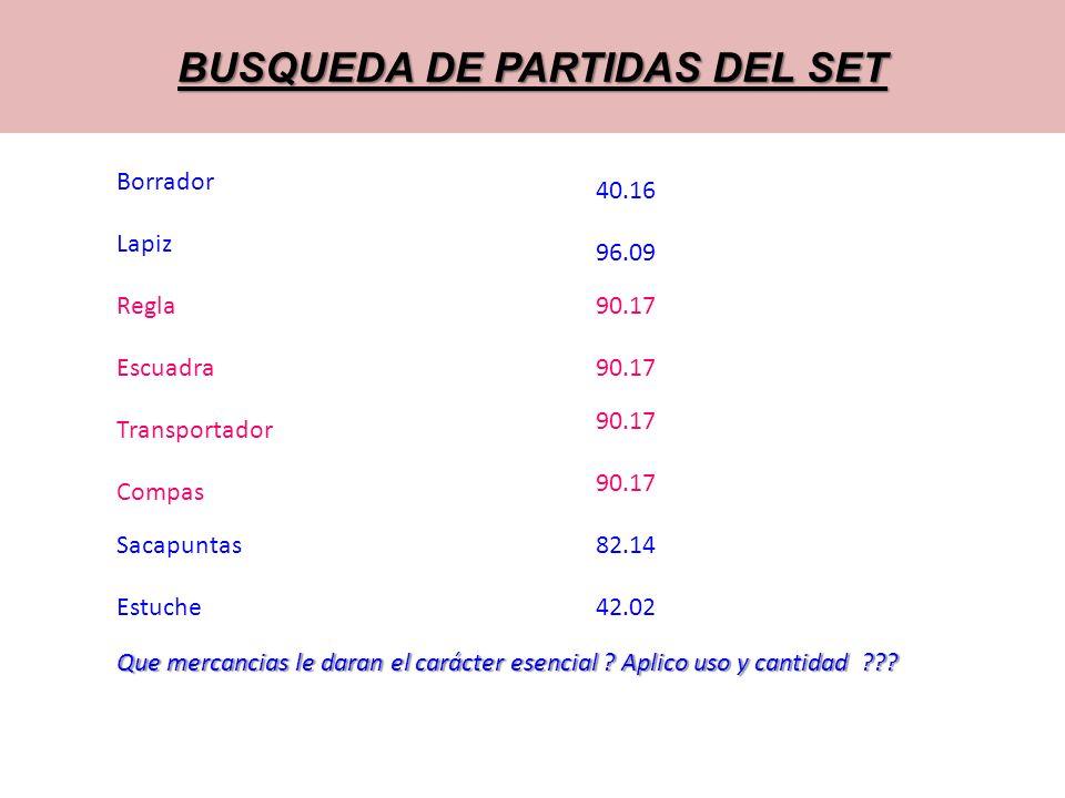 BUSQUEDA DE PARTIDAS DEL SET