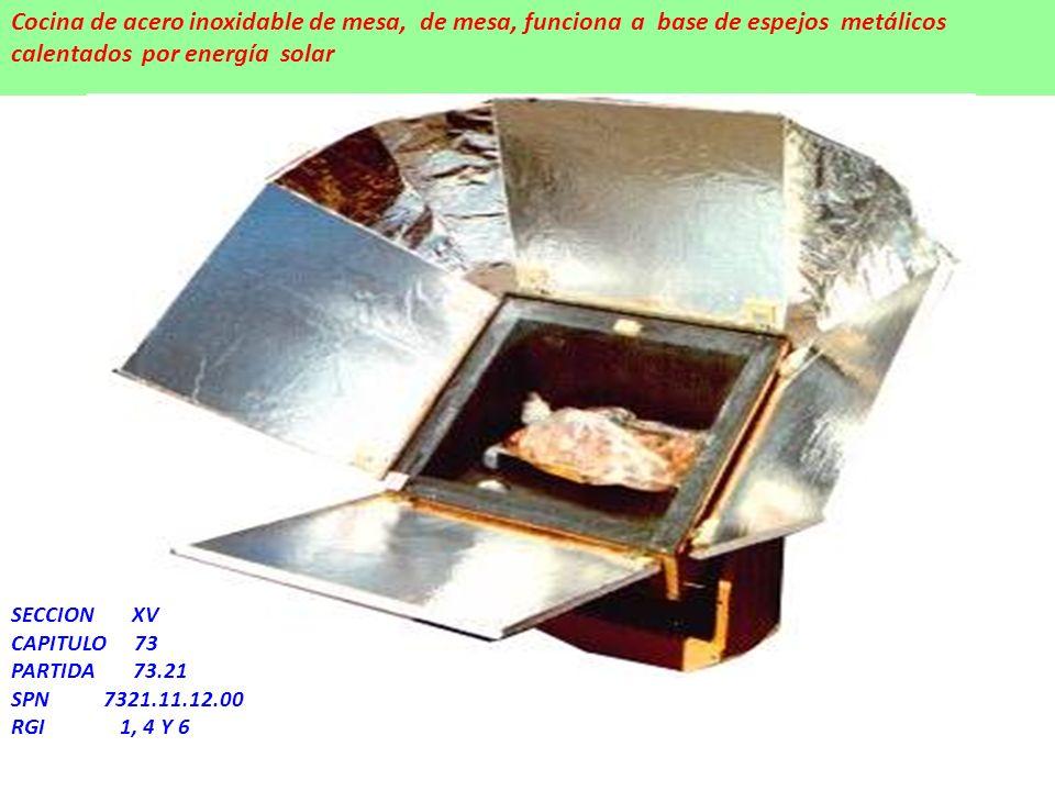 Cocina de acero inoxidable de mesa, de mesa, funciona a base de espejos metálicos calentados por energía solar