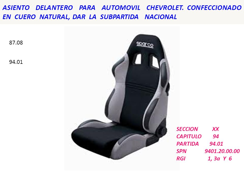ASIENTO DELANTERO PARA AUTOMOVIL CHEVROLET