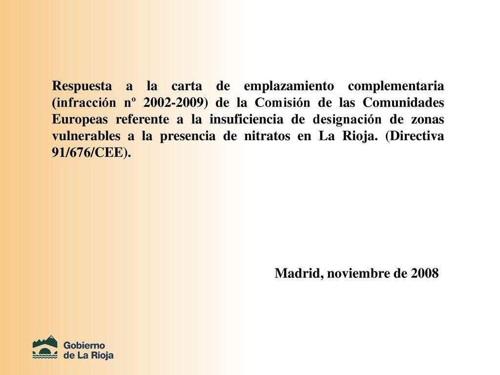 Respuesta a la carta de emplazamiento complementaria (infracción nº ...
