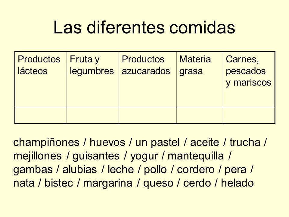Las diferentes comidas