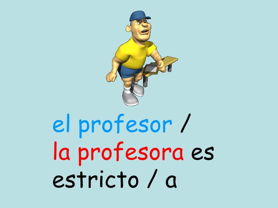 el profesor / la profesora es estricto / a
