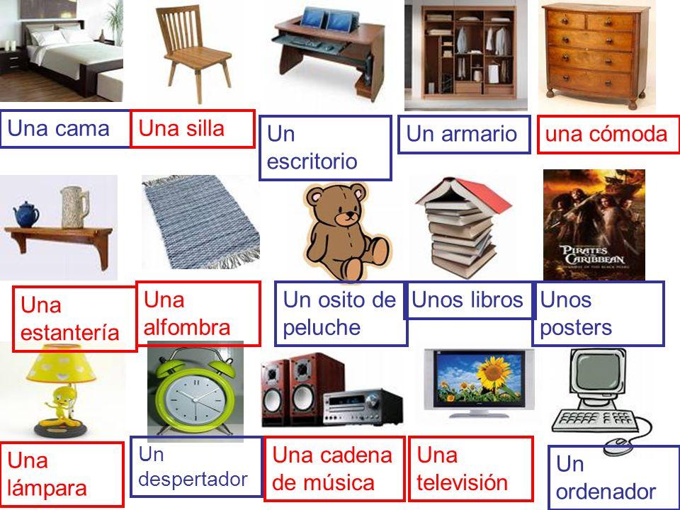 Una cama Una silla Un escritorio Un armario una cómoda Una alfombra