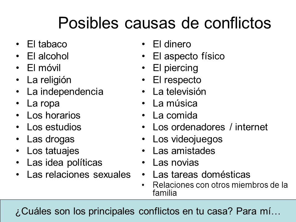 Posibles causas de conflictos