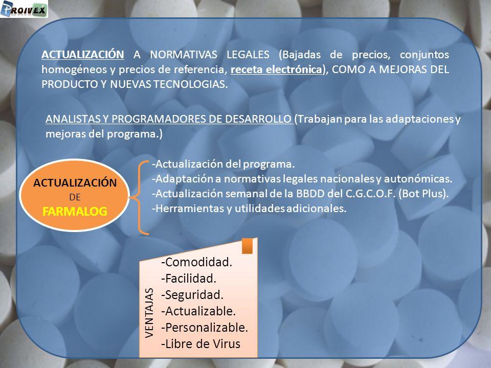 FARMALOG -Comodidad. -Facilidad. -Seguridad. -Actualizable.
