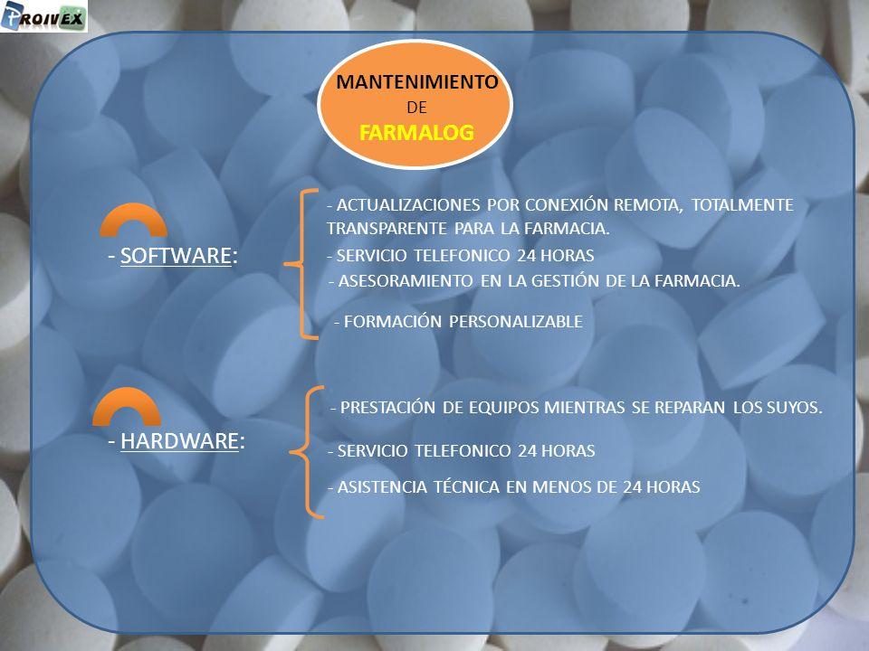 FARMALOG - SOFTWARE: - HARDWARE: MANTENIMIENTO DE