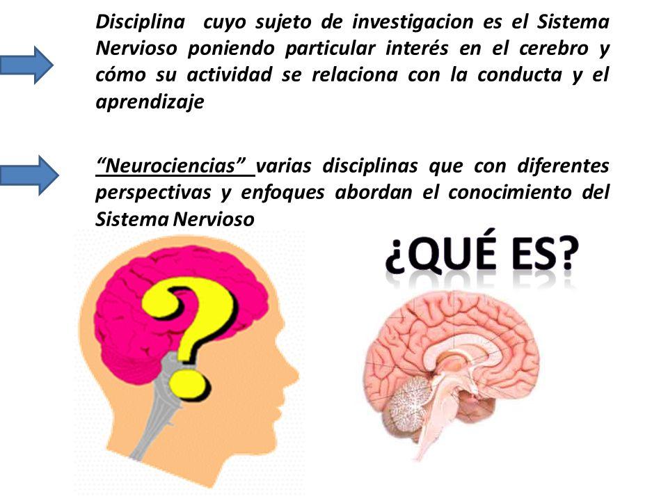 Disciplina cuyo sujeto de investigacion es el Sistema Nervioso poniendo particular interés en el cerebro y cómo su actividad se relaciona con la conducta y el aprendizaje