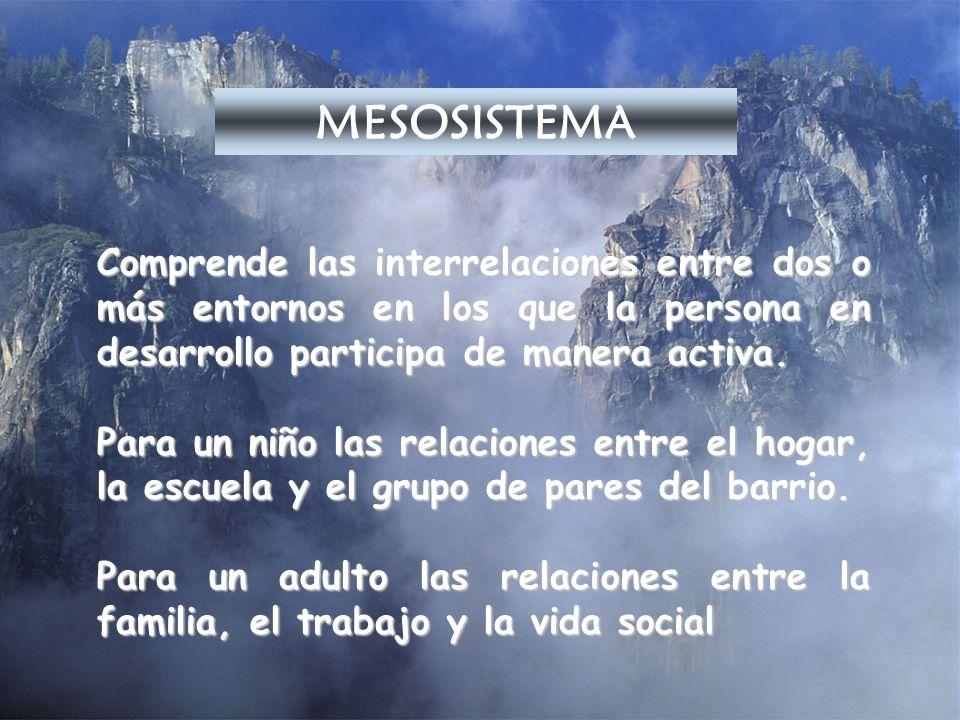 MESOSISTEMAComprende las interrelaciones entre dos o más entornos en los que la persona en desarrollo participa de manera activa.