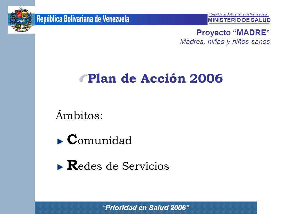 Plan de Acción 2006 Ámbitos: Comunidad Redes de Servicios