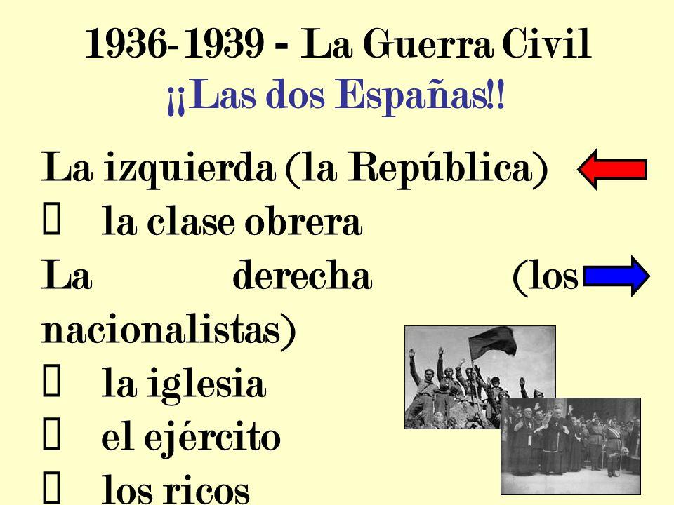 1936-1939 - La Guerra Civil ¡¡Las dos Españas!! La izquierda (la República) ü la clase obrera.