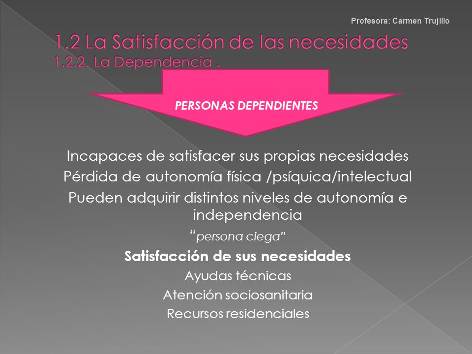 1.2 La Satisfacción de las necesidades 1.2.2. La Dependencia .