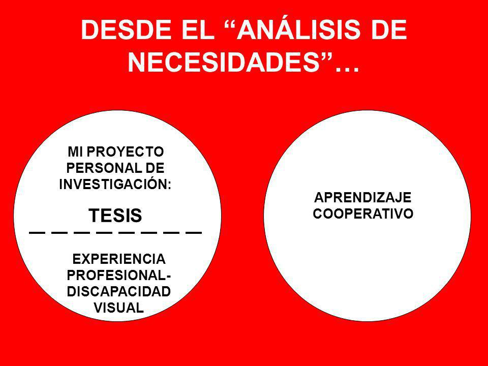 DESDE EL ANÁLISIS DE NECESIDADES …