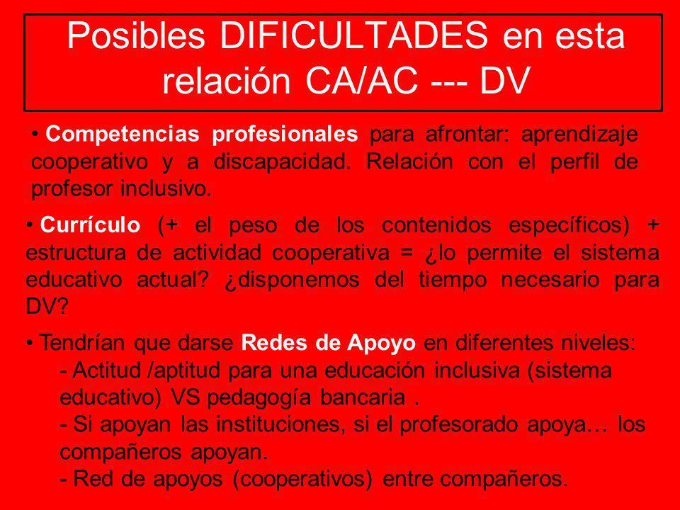 Posibles DIFICULTADES en esta relación CA/AC --- DV