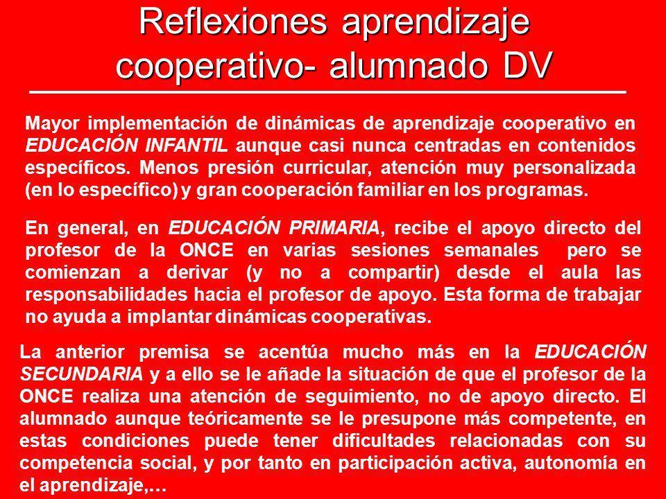Reflexiones aprendizaje cooperativo- alumnado DV