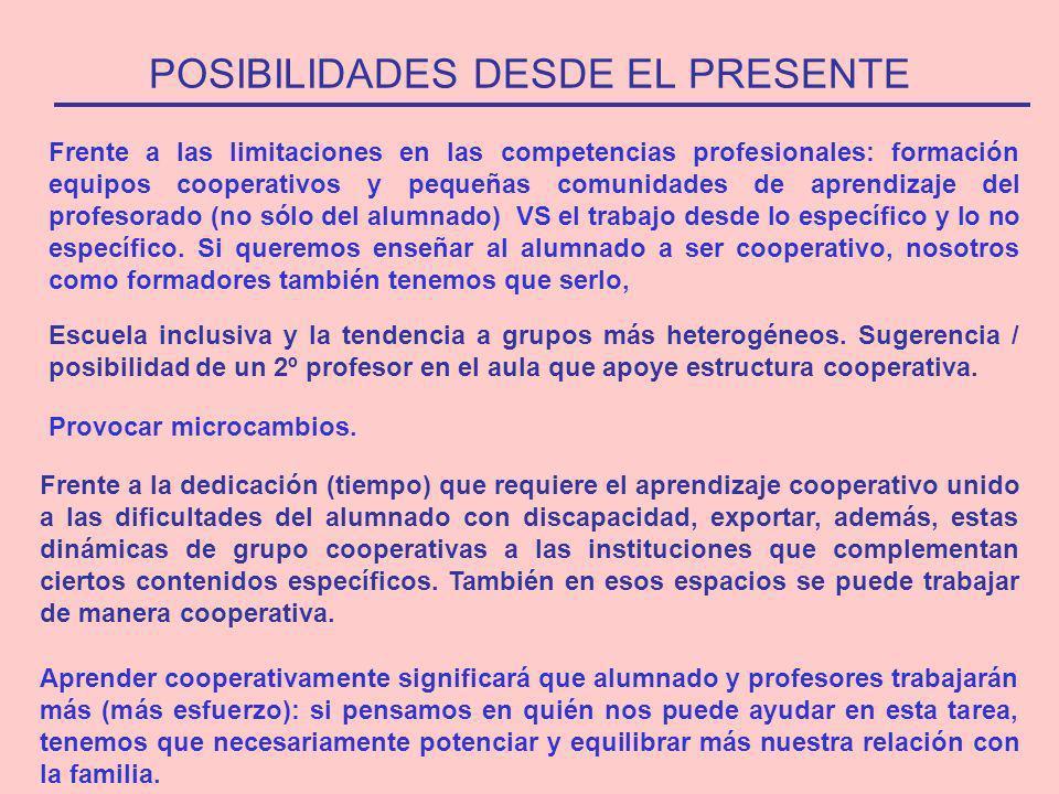 POSIBILIDADES DESDE EL PRESENTE