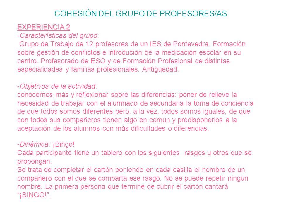COHESIÓN DEL GRUPO DE PROFESORES/AS