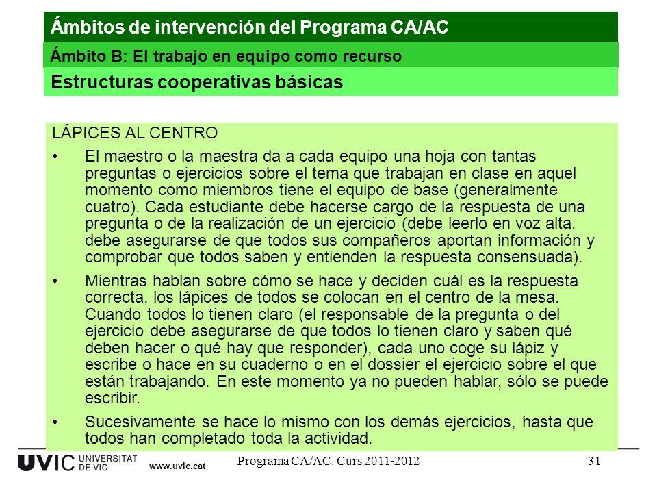 Ámbitos de intervención del Programa CA/AC