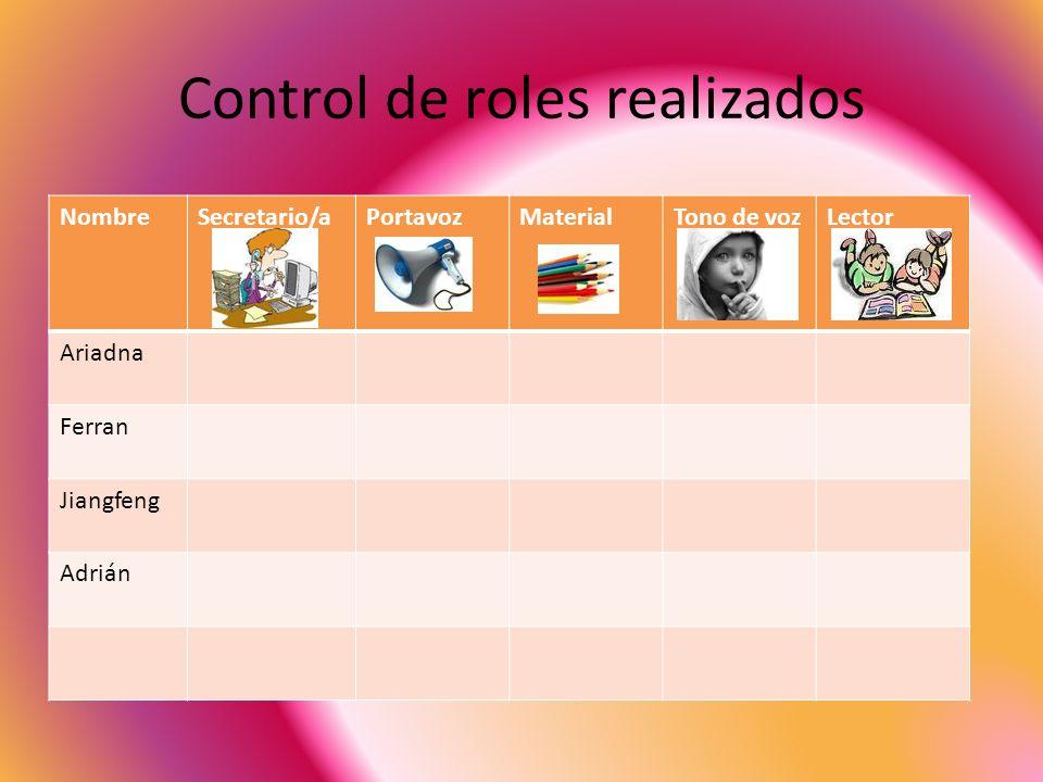 Control de roles realizados