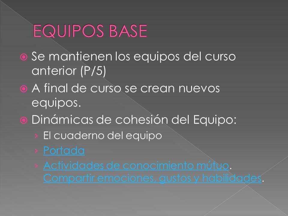 EQUIPOS BASE Se mantienen los equipos del curso anterior (P/5)