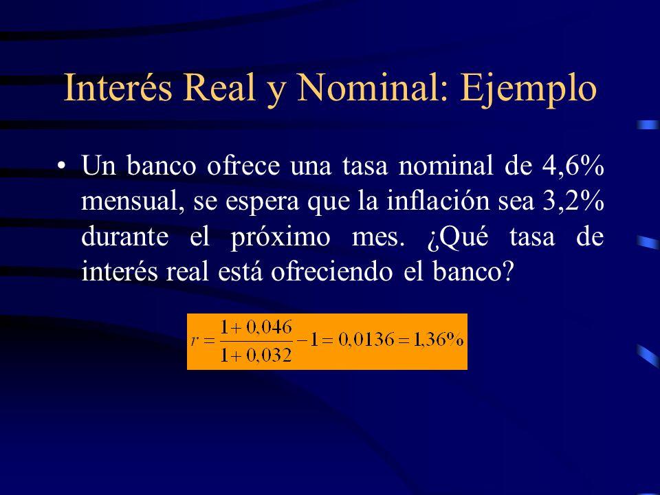 Interés Real y Nominal: Ejemplo