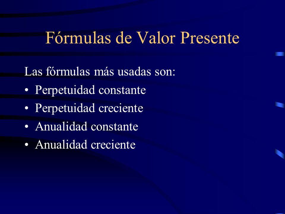 Fórmulas de Valor Presente