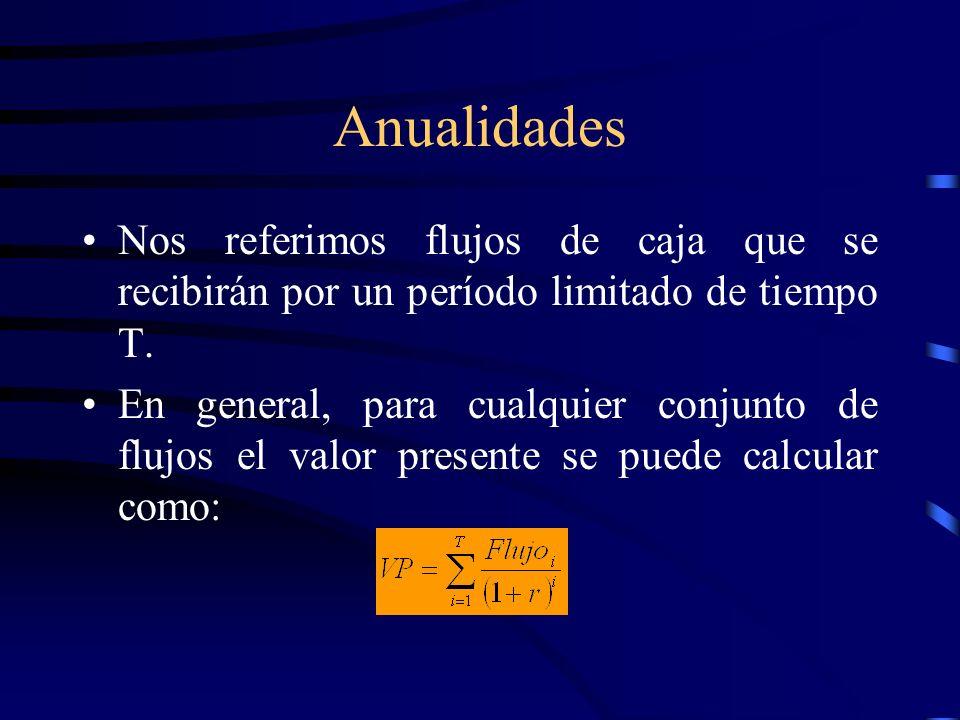 Anualidades Nos referimos flujos de caja que se recibirán por un período limitado de tiempo T.