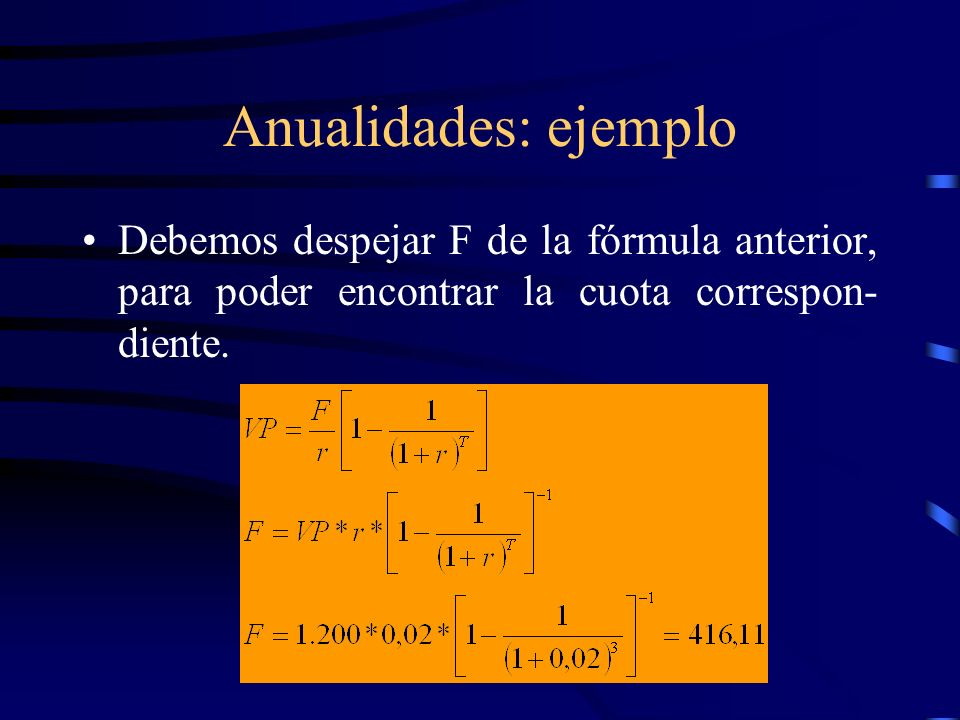 Anualidades: ejemplo Debemos despejar F de la fórmula anterior, para poder encontrar la cuota correspon-diente.