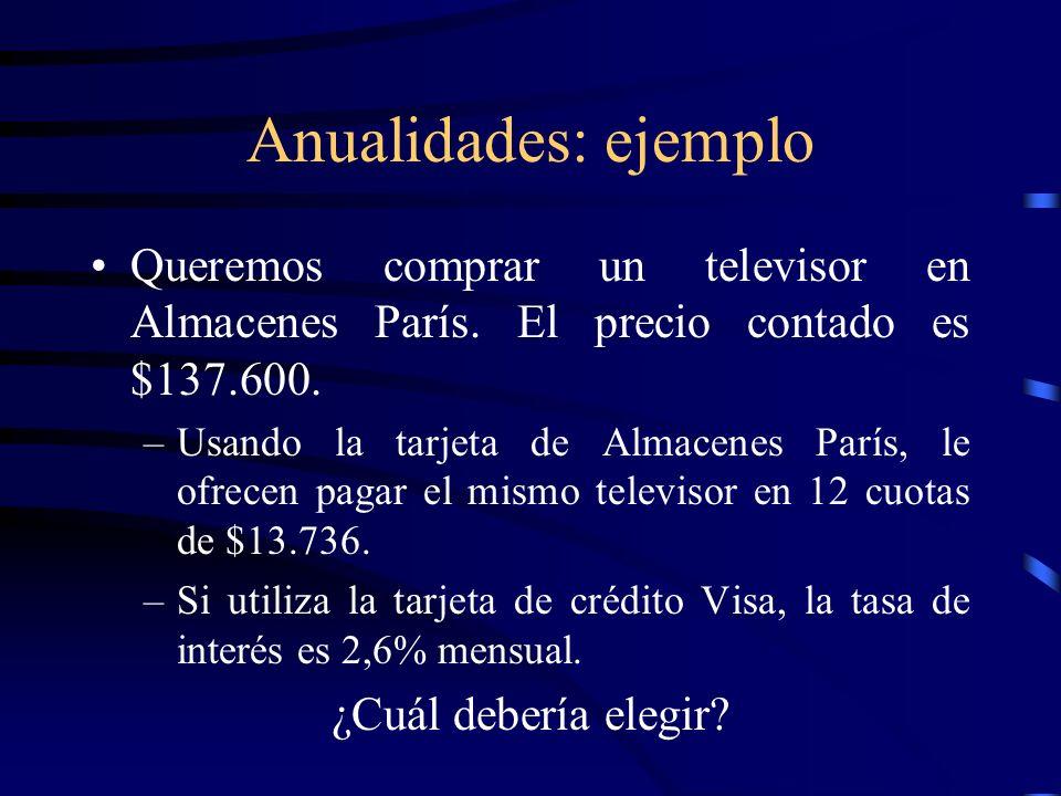 Anualidades: ejemplo Queremos comprar un televisor en Almacenes París. El precio contado es $137.600.