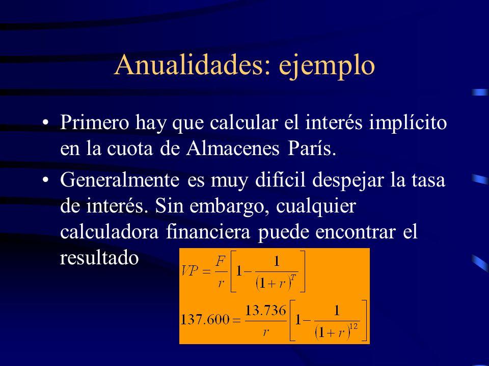 Anualidades: ejemplo Primero hay que calcular el interés implícito en la cuota de Almacenes París.